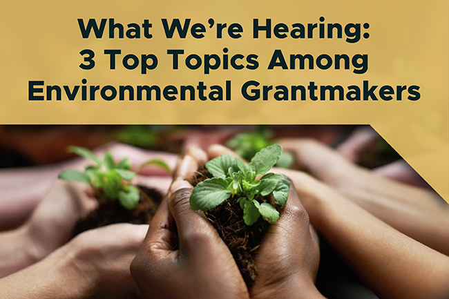 What We're Hearing: 3 Top Topics Among Environmental Grantmakers